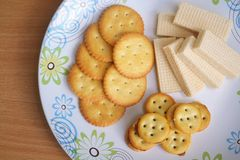 Pile of Crackers and Wafer Stock Photo
