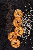 Crackers with white and black sesame seeds. Royalty Free Stock Image