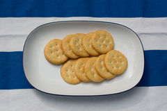 Crackers on white plate Stock Photos