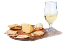 Crackers and wine Royalty Free Stock Photos