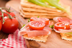Crackers With Cheese And Avocado. Stock Photo