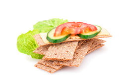 Crackers With Fresh Vegetables And Cheese Stock Image