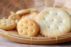 Crackers in wooden basket Royalty Free Stock Image