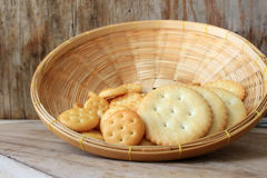 Crackers in wooden basket Royalty Free Stock Photo
