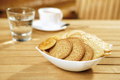 Crackers on a wooden table Royalty Free Stock Photo