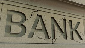 Cracking bank facade. Banking crisis conceptual 3D rendering. Cracking bank facade. Banking crisis conceptual 3D Royalty Free Stock Images