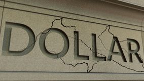 Cracking DOLLAR word on the stone facade. American financial crisis conceptual 3D rendering. Cracking DOLLAR word on the stone facade Stock Image