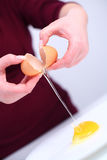 Cracking an egg Stock Images