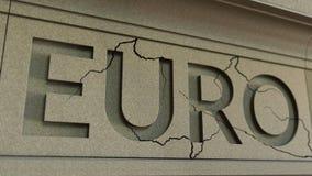 Cracking EURO word on the stone facade. European financial crisis conceptual 3D rendering. Cracking EURO word on the stone facade Royalty Free Stock Photos