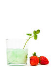Cracking glass and strawberries Stock Photography