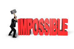 Cracking red impossible 3D word. In white background Stock Images