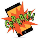 Cracking smartphone cartoon exclamation isolated on white Royalty Free Stock Photography