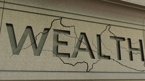Cracking WEALTH word on the stone facade. Poverty related conceptual 3D rendering. Cracking WEALTH word on the stone facade Royalty Free Stock Photography
