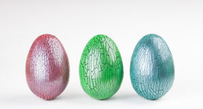 Crackle glaze easter eggs. On white background Stock Photos