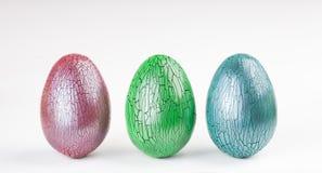Crackle glaze easter eggs. On white background stock photos