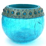 Crackled Turquoise Blue Votive. Crackled glass turquoise candle votive with jeweled top Royalty Free Stock Images