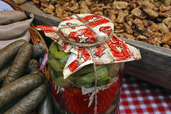 Cracklings, pickles and sausage 2 Royalty Free Stock Images