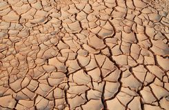 Cracks. Of Dried Mud in Warm Sunset Stock Photos