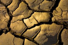 Cracks. In the ground of a dry river Royalty Free Stock Image