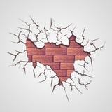 Cracks with brick wall Stock Image