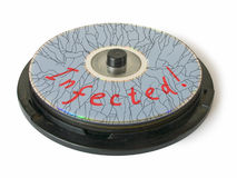 Cracks on CD - Infected! Royalty Free Stock Images