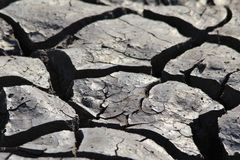 Cracks in Clay - Nature Background - Parched Land and Drought Royalty Free Stock Photography