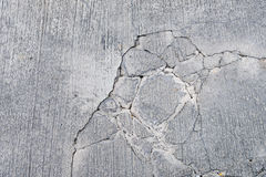Cracks on concrete road. Top view of cracks on concrete road Royalty Free Stock Photos