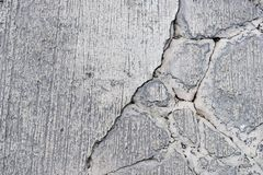 Cracks on concrete road. Top view of cracks on concrete road Royalty Free Stock Image