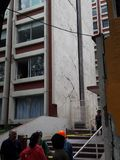 Cracks in fasade of residential building with cracks close to Sears in avenida Medellin in Mexico City Stock Photography