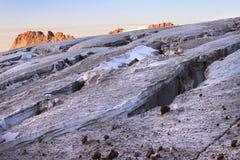 The cracks on a glacier between Mount Ortsveri and Mount Kazbek (Georgia) Royalty Free Stock Images