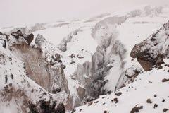 The cracks on a glacier near Mount Kazbek (Georgia) Royalty Free Stock Images
