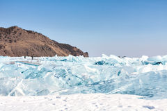 Cracks and ice blue ice on the surface of Lake Baikal, Siberia Royalty Free Stock Photography