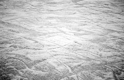 Cracks ice rink. Empty ice rink with skate marks, sport Stock Photo
