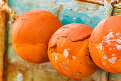Cracks in buoyancy aids. Cracks in orange buoyancy aids Royalty Free Stock Photos