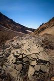 Cracks in sandy hills on Mutnovsky Volcano Stock Photos