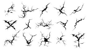 Free Cracks Silhouettes. Hand Drawn Cracked Screen Glass, Damaged Surface And Egg Surface Black Crack Vector Set Royalty Free Stock Image - 178571816