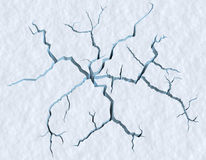 Cracks in the snow surface of cracked glacier. Danger on the show surface concept abstract illustration: cracks in blue ice of cracked glacier in textured white Royalty Free Stock Image