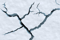 Cracks in snow surface of cracked glacier top closeup view Stock Photography