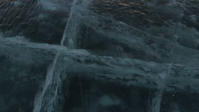Cracks in transparent ice. stock footage