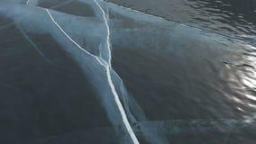 Cracks in transparent ice. Beautiful winter Lake Baikal stock video footage