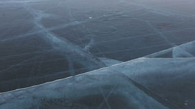 Cracks in transparent ice. Beautiful winter Lake Baikal stock video