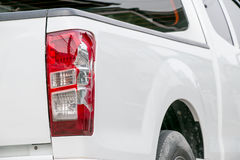 Cracks white car. From being bumped the rear lights Stock Photography
