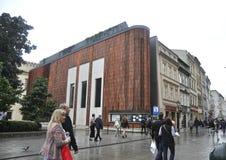 Cracovia 19,2014 augusti: Costruzione Expositional a Cracovia, Polonia Immagine Stock Libera da Diritti