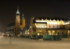 Cracovia entro la notte Fotografia Stock
