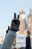 Cracovia - la dimostrazione contro la sorveglianza su Internet Fotografia Stock