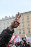 Cracovia - la dimostrazione contro la sorveglianza su Internet Fotografia Stock Libera da Diritti