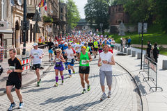 Cracovia Marathon. Runners on the city streets Royalty Free Stock Photography