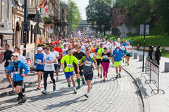 Cracovia Marathon. Runners on the city streets Stock Image