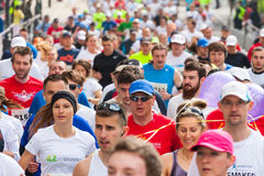 Cracovia Marathon. Runners on the city streets Royalty Free Stock Image