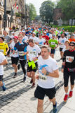 Cracovia Marathon. Runners on the city streets Royalty Free Stock Photos